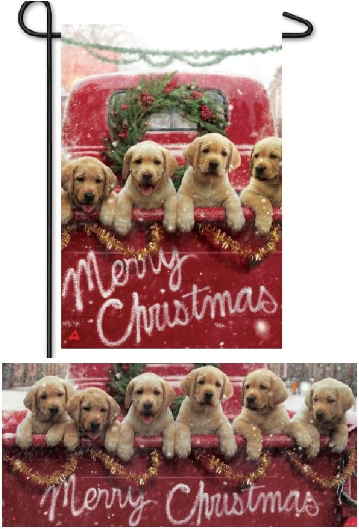 Evergreen Flag Christmas Winter Welcome Flag and Doormat Set of Two 12.5 x 18 inch Puppy Merry Christmas Garden Flag and Interchangeable Sassafras Mat for December Décor