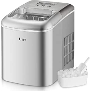 ULIT Ice Maker Countertop, Makes 26 lbs. Ice per 24 Hours,9 Ice Cubes Ready in 8 Minutes, Home Party countertop Ice Maker machine with Ice Scoop and Basket, 1.6 lbs. Ice Storage (Silver)