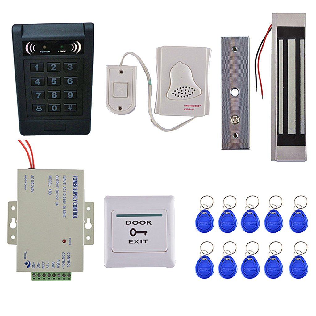 Fenteer Door Access Control Kits Home Security Door Entrance Safety with 10 keyfobs