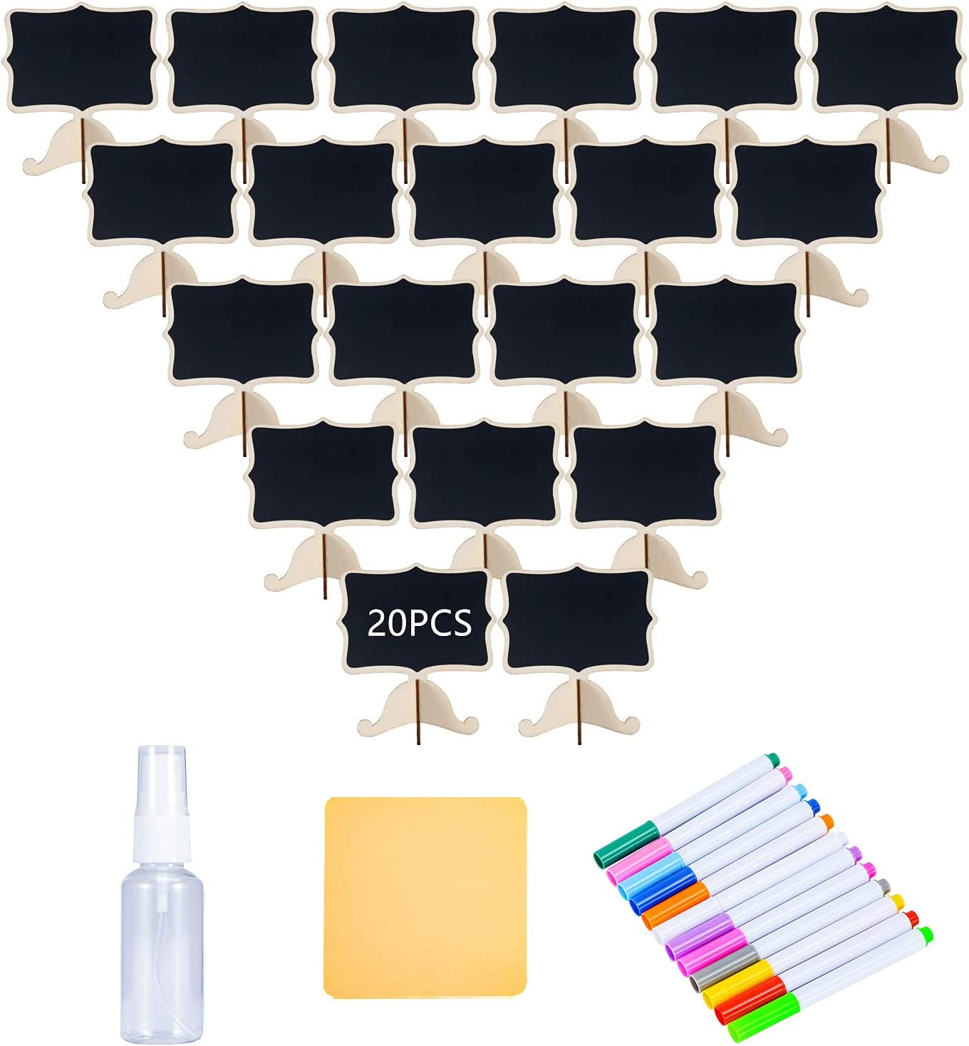 Reusable 20 Pcs Mini Chalkboard Signs with Easel Stand for Food Labels, Weddings, Birthday Parties, Message Board Signs and Event Decorations ,Include 12 Colors Water-Based Chalks
