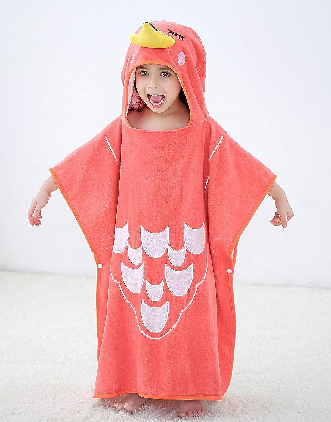 Happy Cherry Badeponcho Kinder Tier Kapuzenbadetuch f/ür Jungen und M/ädchen Bademantel Strand Frottee Kinder f/ür 2-7 Jahre 13 Farben