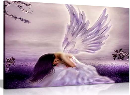 Angel Fantasy Weeping Canvas Wall Art Picture Print 36x24in