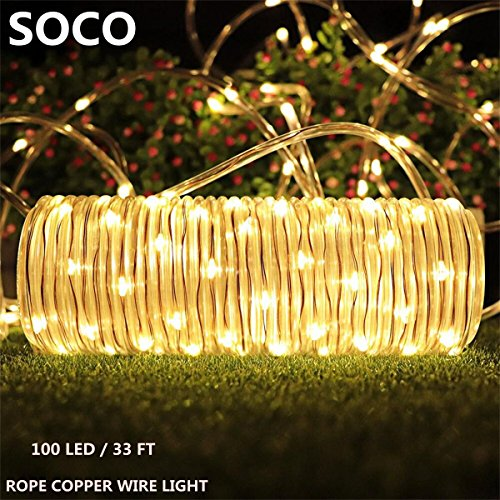 Outdoor Solar Rope Lights 8 Lighting Modes 100 LED Waterproof Copper Wire String Fairy Christmas Lights Ideal for Halloween Garden Patio Holiday Bedroom Wedding Decorations (Warm (Halloween Window Light Up Decorations)