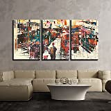 "wall26 - 3 Piece Canvas Wall Art - Couple Walking on Harbor Pier with Colorful Boats,Illustration Painting - Modern Home Decor Stretched and Framed Ready to Hang - 24""x36""x3 Panels"