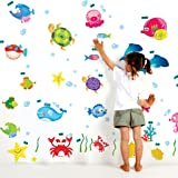 Decals Design StickersKart Wall Stickers Underwater Creatures Baby Room (Multi-Colour)