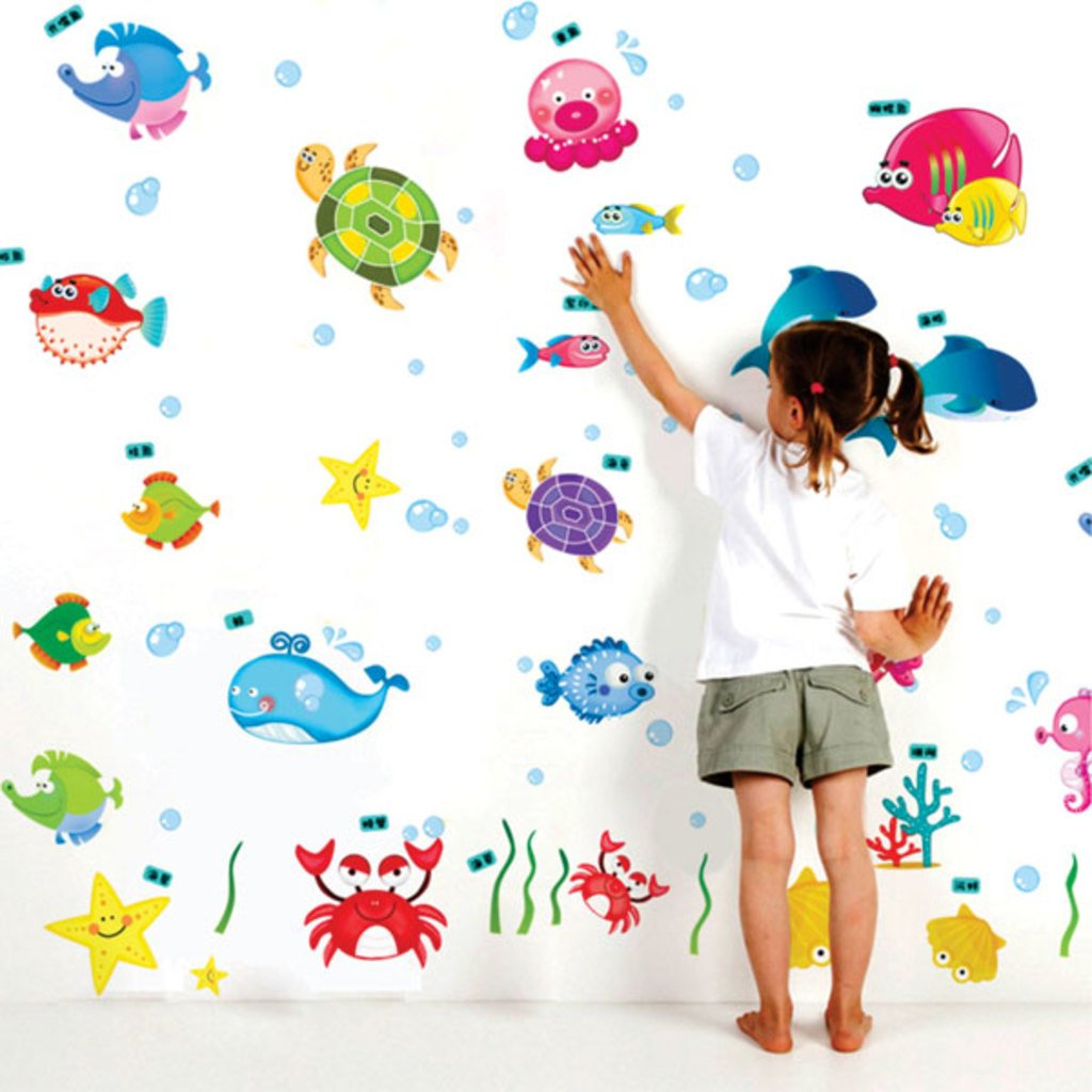 Decals Design 'Underwater Creatures Baby' Wall Sticker (PVC