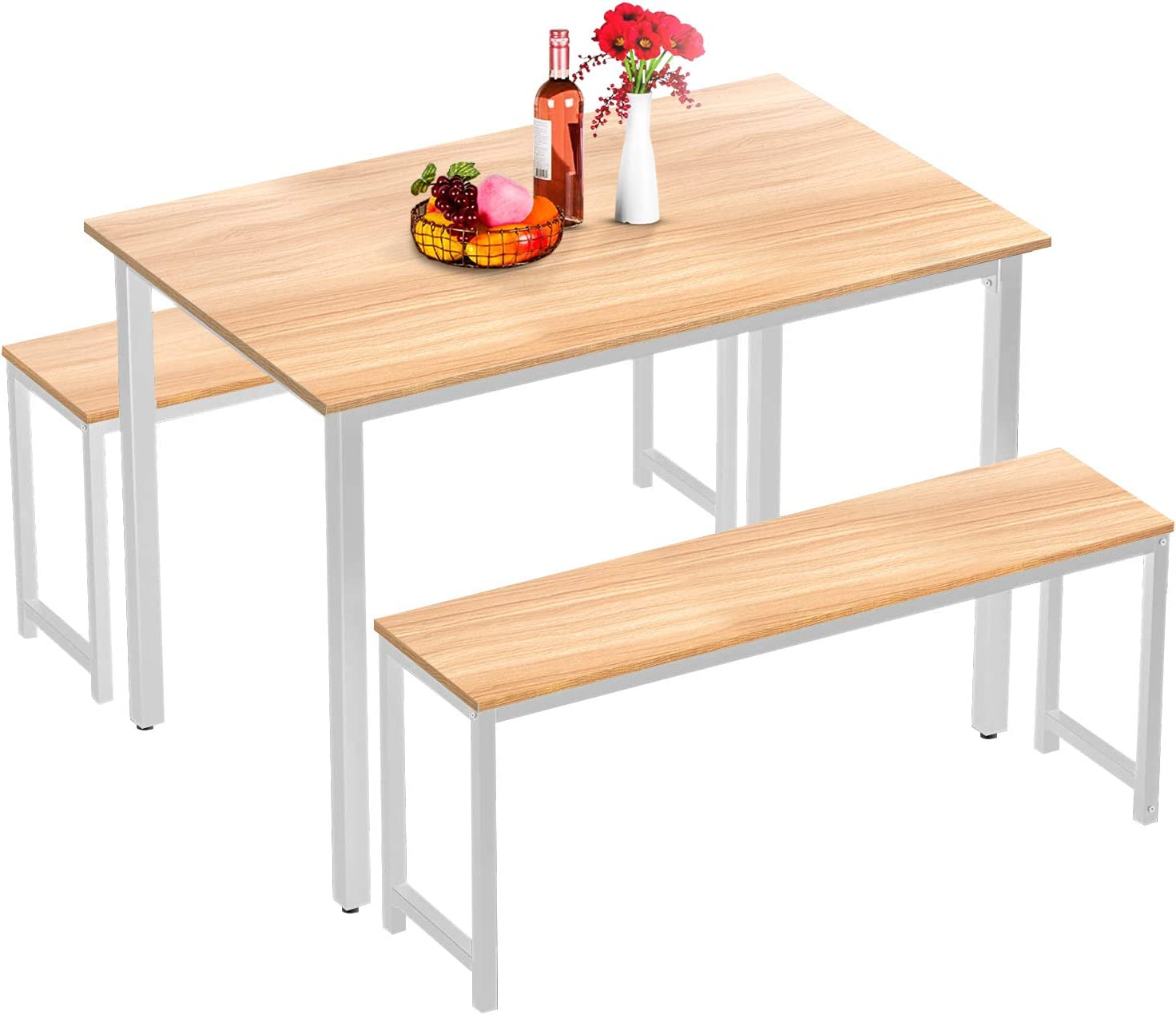 Amazon Com Dklgg 3 Pieces Dining Table Set Modern Kitchen Table And 2 Bench With Metal Leg For Small Space Home Beige Office Products