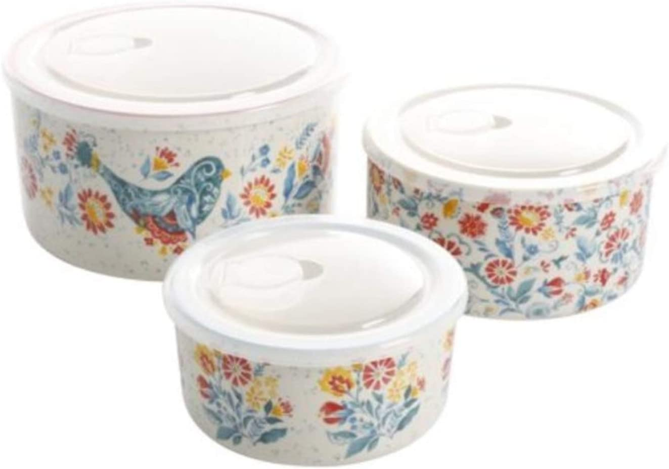 The Pioneer Woman Mazie 9-Piece Round Ceramic Nesting Bowl Set with Build-In Steam Release
