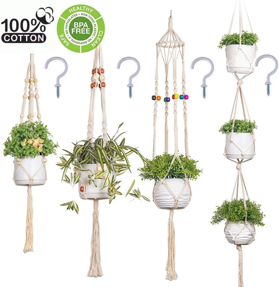 Macrame Plant Hangers, Large Indoor Outdoor Wall Hanging Planter Hangers with Hooks Flower Pot Holder, Boho Home Decor Gift Box 4-in-1