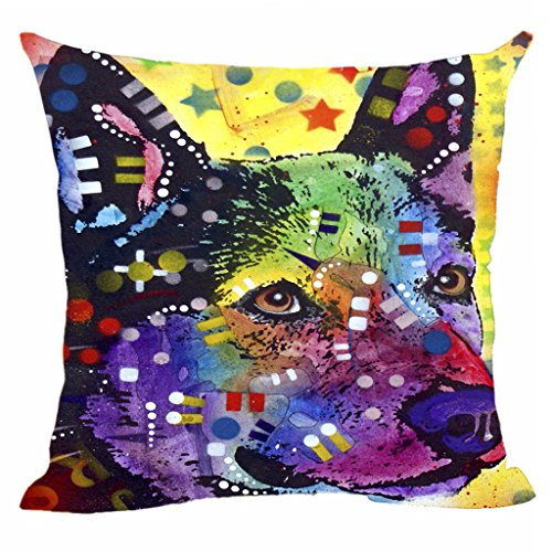 """CafeTime Funny Australian Cattle Dog Pillow Covers Multicolor Animals Canvas Pillow Cases Art Pet Cushion Cover for Bedroom 18""""x18""""Inch"""