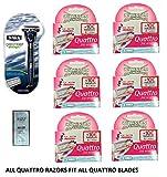 Schick Quattro Midnight Razor, 1 Razor w/ 2 Refill Blades + Quattro for Women 3 Ct (Pack of 6) w/ Loving Care Conditioner Packette