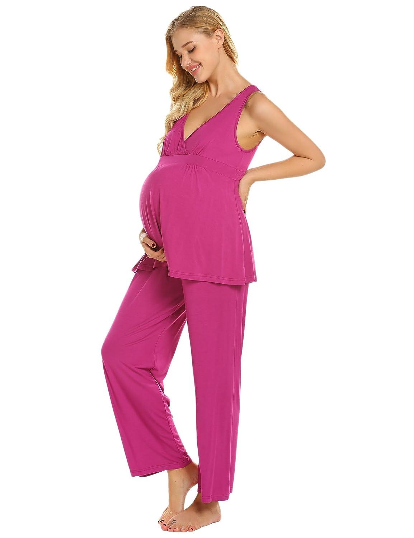 Ekouaer Womens Cotton Maternity Pajama Sets Nursing Sleepwear