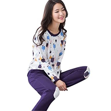 ceaa1f93fafd Camowuz Women s Colorful Pajamas Long Sleeve Cool Cotton Pjs Set Purple  Small