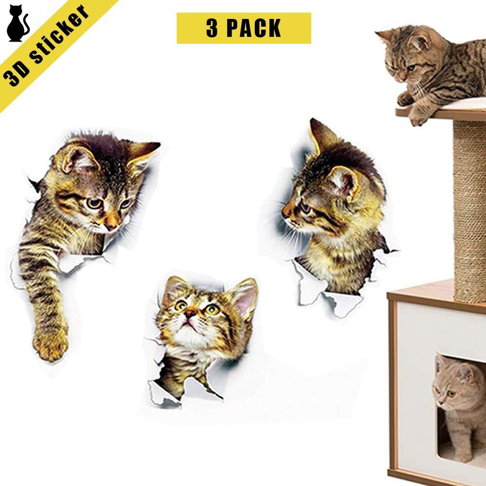 3D Hole Effect View Vivid Cats Vinyl Art Mural Decals Sticker Toilet Decoration