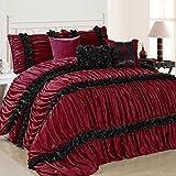 Fashion Street Catalina 7-Piece Pleated Comforter Set, King, Burgundy