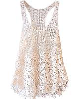 reine à la mode- Femme Robe courte Casual T-shirt décolleté broderie dentelle sans manches en mousseline