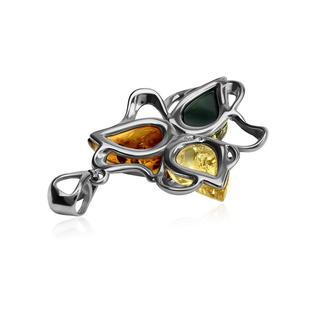 Ian and Valeri Co Multicolor Amber Sterling Silver Flower Pendant