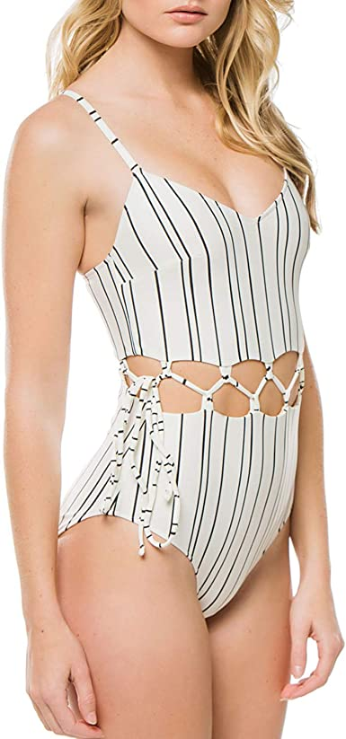 Lemonfish Womens One Piece Swimsuit Skull Head Deep V Neck Halter Backless Bikini Monokini Bathing Suit Swimwear