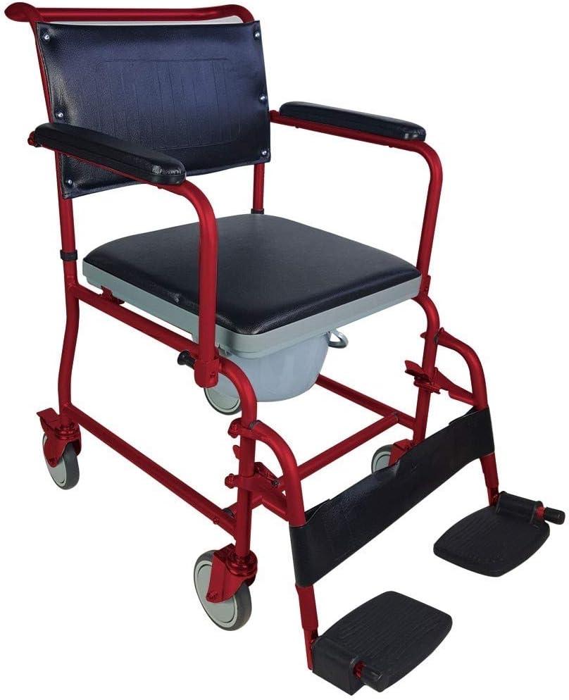 Mobiclinic, Ancla, Silla con WC o inodoro para minusválidos, discapacitados, ancianos, Plegable, Reposabrazos, Asiento ergonómico, Conteras antideslizates, color Burdeos