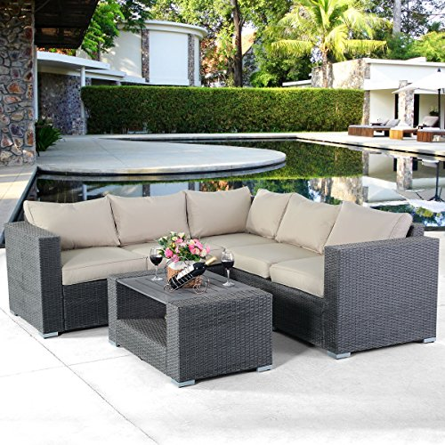 Tangkula Outdoor Furniture 4 Piece, Sectional Sofa with Coffee Table All-Weather Proof Heavy Duty Steel Frame Couch Set for Garden, Balcony, Poolside, Patio, Grey Conversation Set (Sectionals Discount Outdoor)