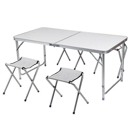 cozime AFT-03 – Juego de mesa con 4 sillas plegables aluminio altura ajustable AFT-03 – Muebles de montaje rápido para jardín mesa plegable mesa Viaje ...