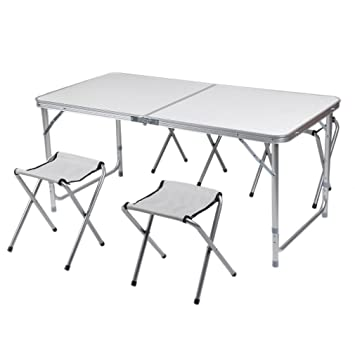 cozime AFT-03 – Juego de mesa con 4 sillas plegables aluminio altura ajustable AFT-03 – Muebles de montaje rápido para jardín mesa plegable mesa ...