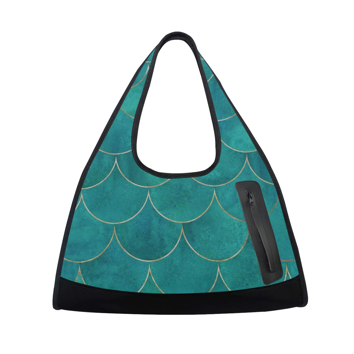Dark Green Mermaid Fish Scals Women Sports Gym Totes Bag Multi-Function Nylon Travel Shoulder Bag