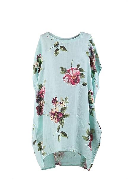 4a65fbee58cb2 LushStyleUK New Ladies Italian Floral Linen Baggy Tunic Top Women Lagenlook  Top Plus Sizes
