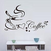 Venkaite Wall Sticker Tazze di caffè Adesivi Murales DIY Rimovibile Sticker Murali per Divano Parete Decorazione 40x65 cm (15.7x25.6 inches)