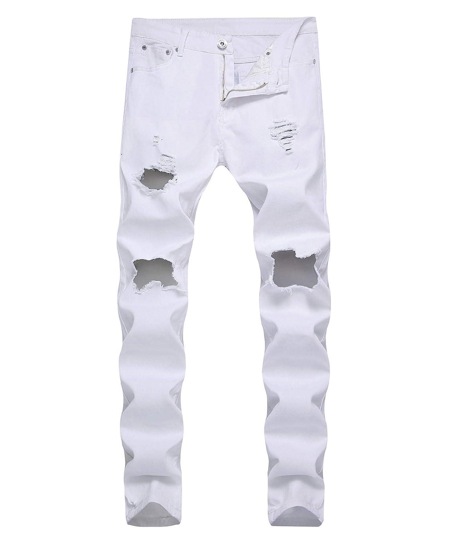 OBT Big Boy's Ripped Skinny Jeans Destroyed Stretch Slim Distressed Pants