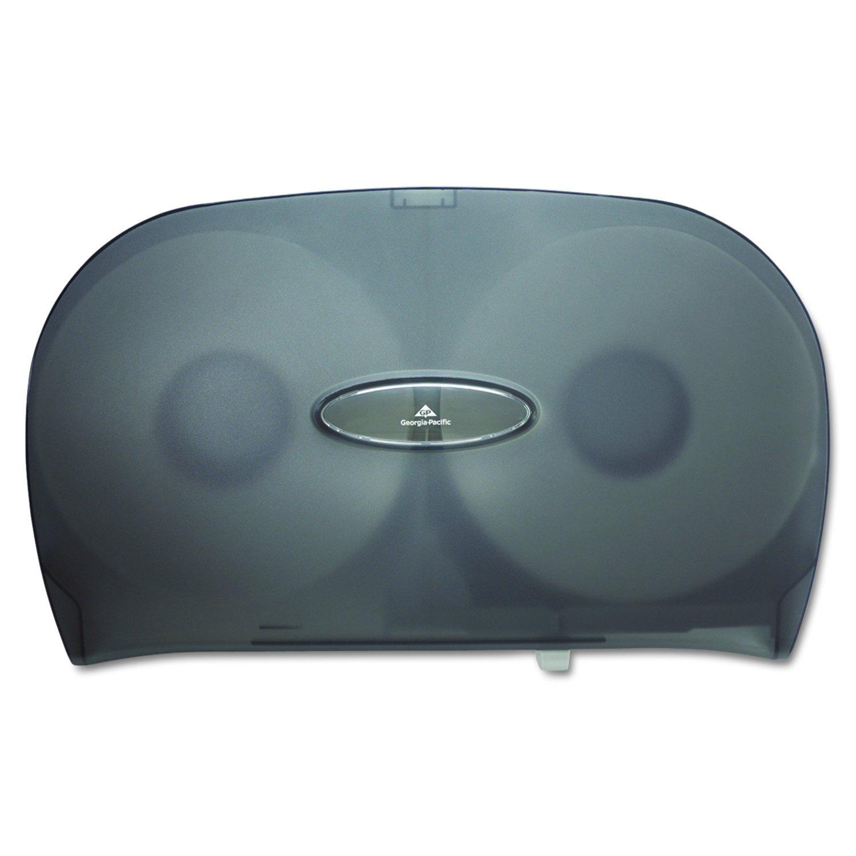 "Two-Roll Jumbo Jr. Toilet Paper Dispenser by GP PRO (Georgia-Pacific), Translucent Smoke, 59209, 20.020"" W x 5.670"" D x 12.260"" H"