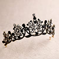 Lurrose Corona barroca de lujo Corona de cristal negro Tiara de Halloween y corona Corona de diamantes de imitación…