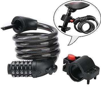VVHOOY - Candado para Bicicleta, Combinación de Cables, 5 Dígitos, Cable antirrobo con