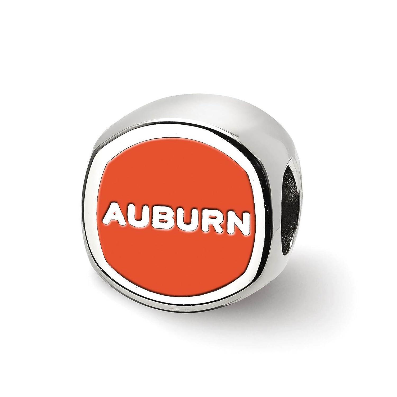 925 Sterling Silver Rhodium-plated Laser-cut Auburn University Cushion Shape Logo Bead Charm