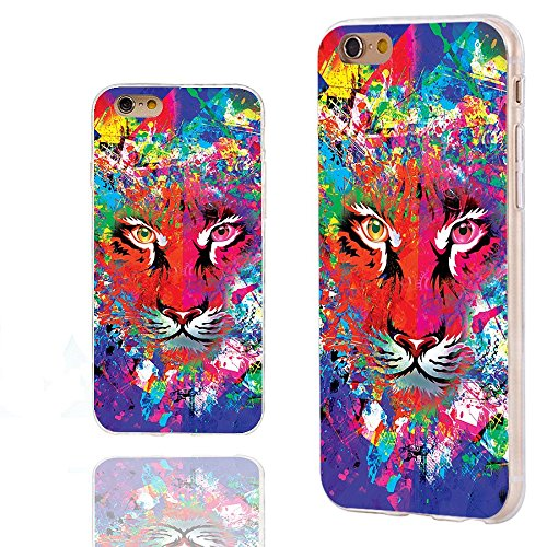 - iPhone 6s Case,iPhone 6 Case,ChiChiC 360 Full Protective Shockproof Slim Flexible Soft TPU Art Design Cover Cases for iPhone 6 6s 4.7 Inch,cartoon animal tiger head on watercolor green blue red yellow