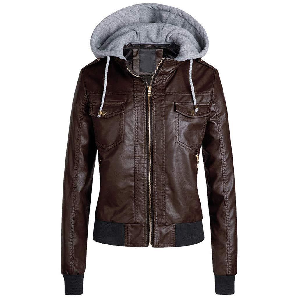 Fashionhe Jacket Women Slim Leather Outwear Removable Zipper Hooded Warm Coats Overcoat (Brown.3XL)