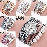 CCQ Women Fashion Casual Analog Quartz Wing Rhinestone Pearl Bracelet Watch