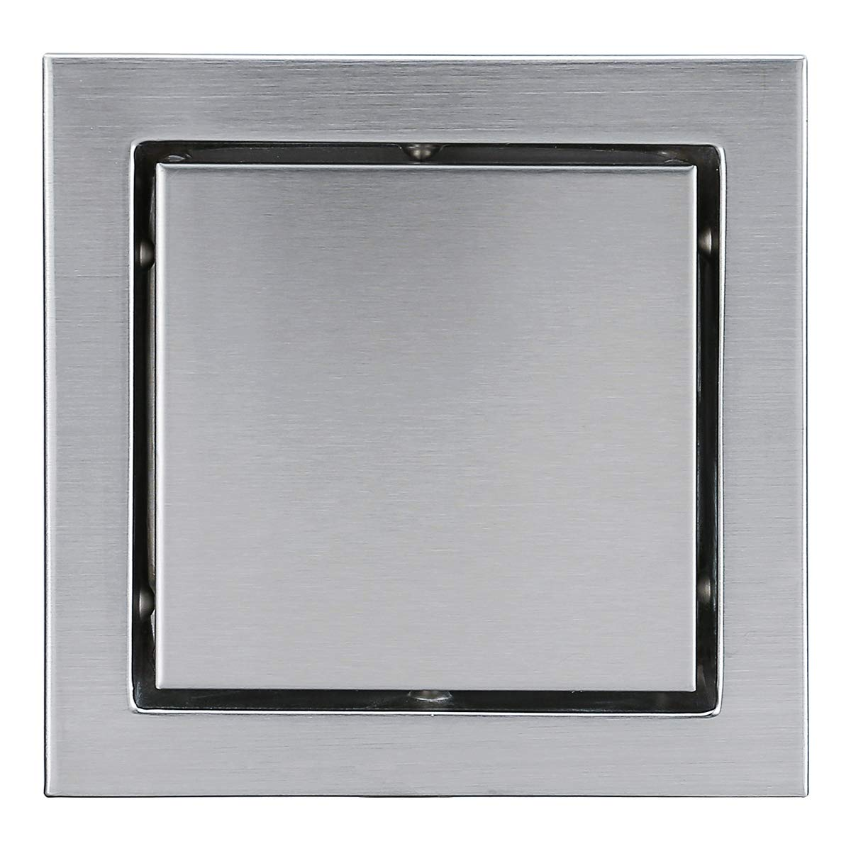 RANDOM 6-inch SUS304 Stainless Steel Square Shower Floor Drain with Tile Insert Grate Removable Multipurpose Invisible Look or Flat Cover,Brushed Stainless. (Wide-brimmed)
