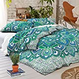 Sophia Art Indian Ombre Mandala Queen Size Comforter Hippie Boho Cotton Doona Duvet Cover Indian Comforter Mandala Hippie Bohemian Queen Quilt Cover Set ""