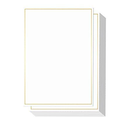 amazon com 50 pack metallic gold foil border invitation paper