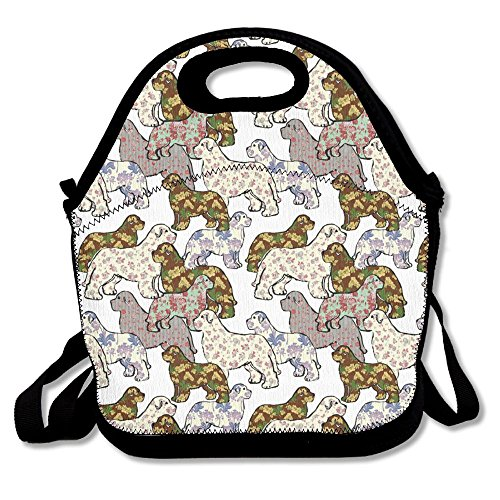 cd2ea1761586 GSAIH Dogs Patterns Floral Newfoundland Dog Insulated Lunch Box Tote Bag  With Shoulder Strap By Bouble, Perfect For Women, Men & Kids