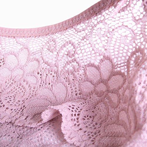 POKWAI Ropa Interior Atractiva De Las Mujeres De Encaje En El Abdomen Mención Breves Muchacha De Hip Delgada Transparente Gray