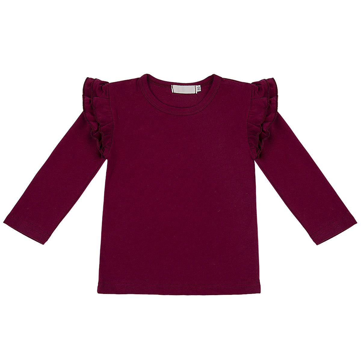6cd93e80dbb Amazon.com  IMEKIS Baby Girls Ruffle Fly Wing Long Sleeve Tops T Shirts  Toddler Kids Basic Plain Cotton Tee Casual Blouse Autumn Clothes  Clothing