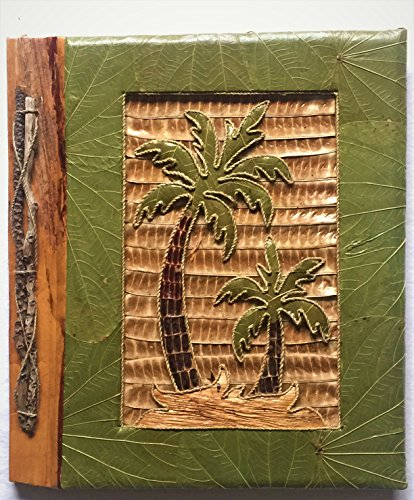 All Natural 80 Photo Handmade Photo Album - Two Palm Trees Design (Album Wedding Photo Natural)