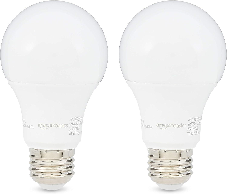 Amazon Basics 60w Equivalent Soft White Dimmable 10 000 Hour Lifetime A19 Led Light Bulb 2 Pack