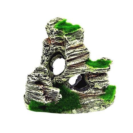 FiedFikt - Figura Decorativa de Resina para Acuario, Paisaje Artificial, decoración de montaña,