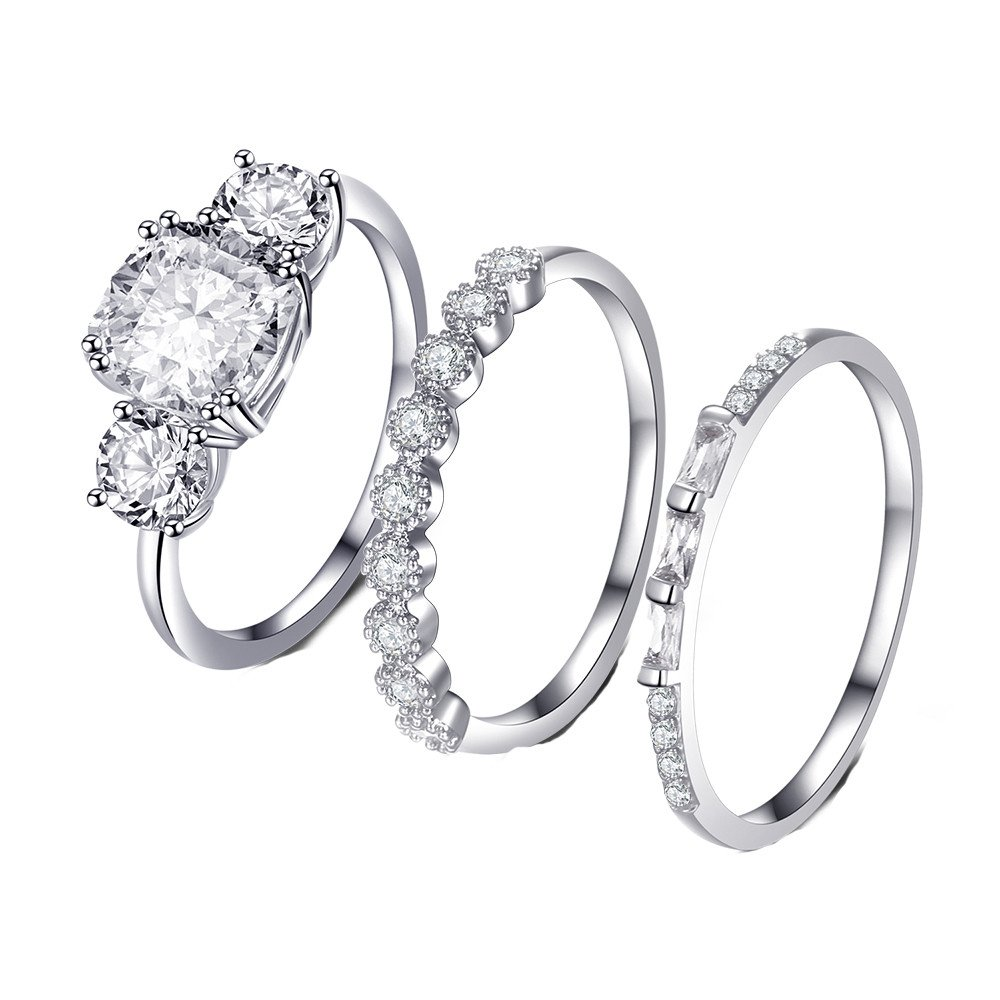 Beclgo Bohemian Silver Rings Wedding Lover Stack Ring Above Knuckle Copper Rings for Women