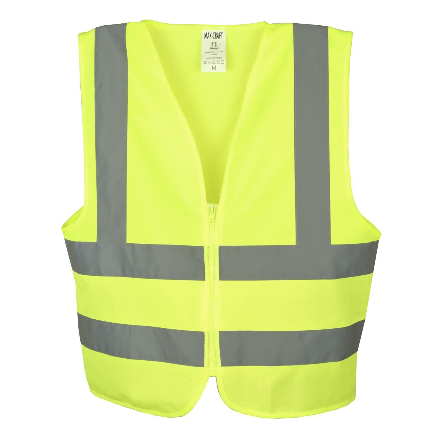 897f9008 Max-Craft Safety Vest Neon High Visibility Highly Breatheable with  Reflective Strips Zipper Front Safety Vest ANSI Standard Yellow (SV1001A)  (XXX Large)