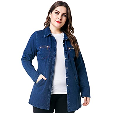 87f54ae4f4b Image Unavailable. Image not available for. Color  CTRICKER Women s Denim Jacket  Plus Size Button Down ...
