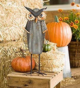 Rustic Metal Owl Statue - Shadow